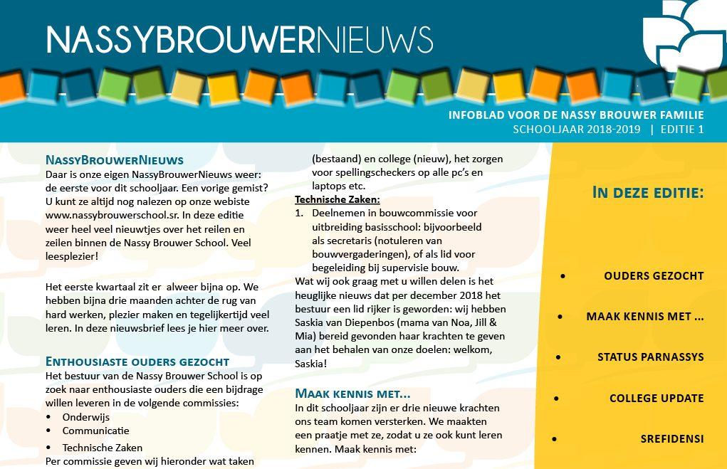 Nassy Brouwer School Nieuwsbrief 2018-2019 Editie NR1 v2 FRONT COVER